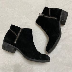 Lucky Brand Black Suede Ankle Boots Zippers